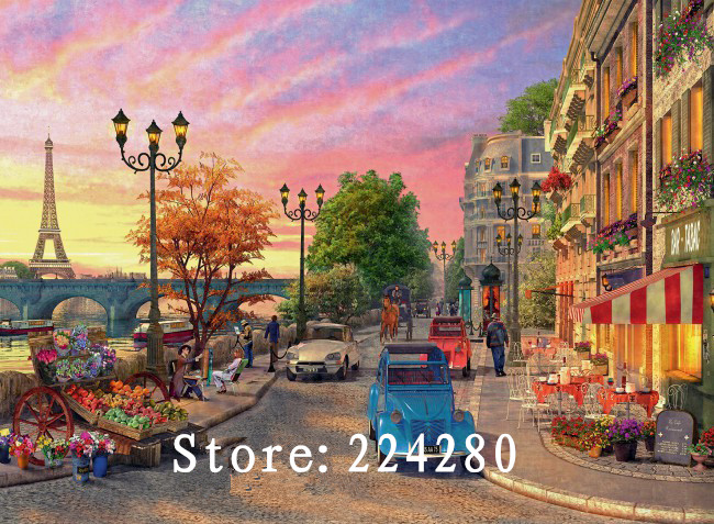 Ev ve Bahçe'ten Paket'de Iğne  Paris sokak görünümü sahne 14CT sayılan nakış  DIY çapraz dikiş kitleri  sanat çapraz dikiş ev dekor title=