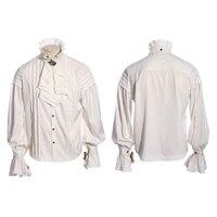 Pałac Noble Steampunk Mężczyźni Tie Ruffles Stań Kołnierz Pojedyncze Piersi Koszula Punk Gothic Mody Przystojny Z Długim Rękawem Koszula Szyfonowa