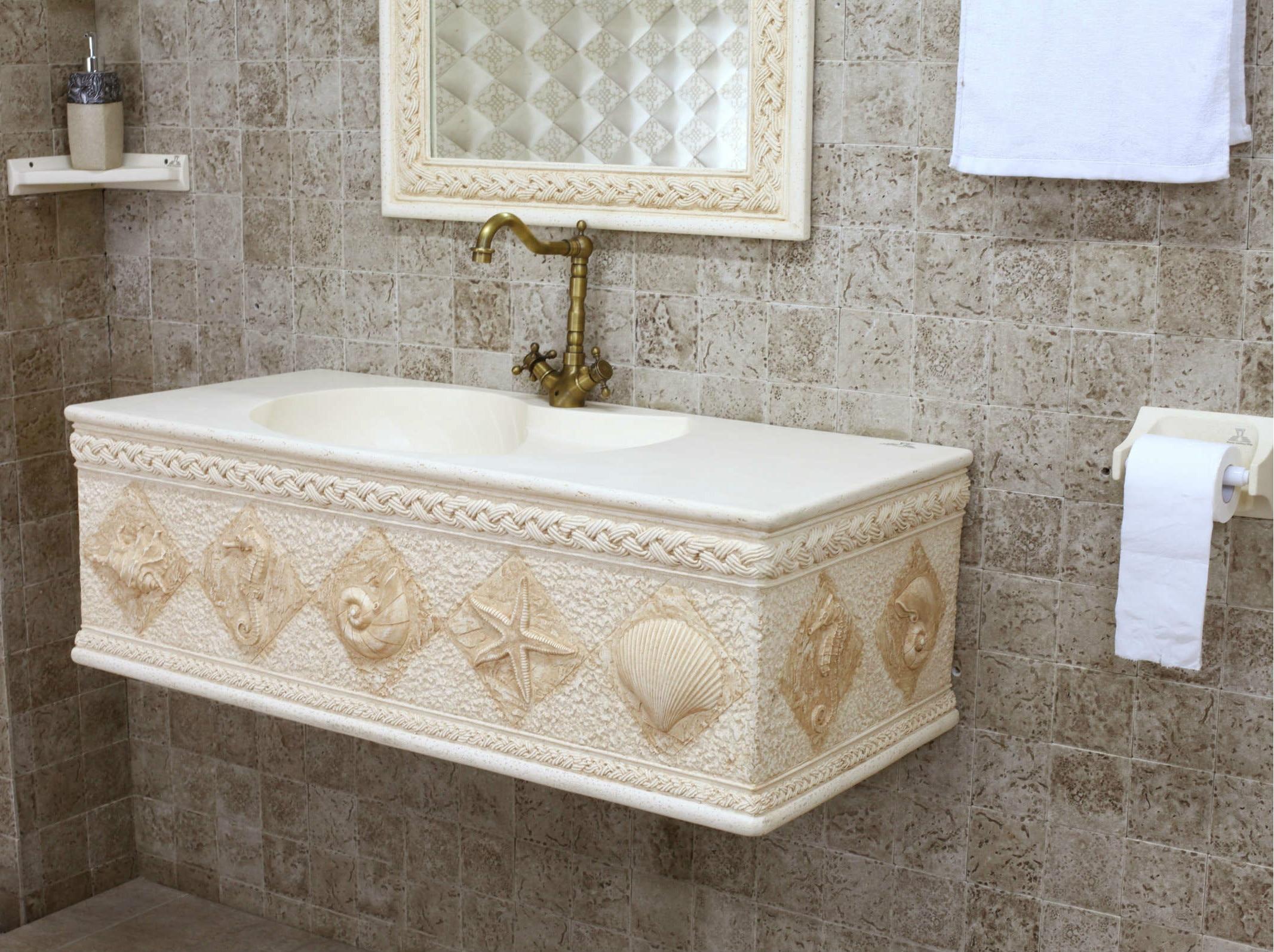Badkamermeubel steen - Meubilair vormgeving van de badkamer dubbele wastafel ...