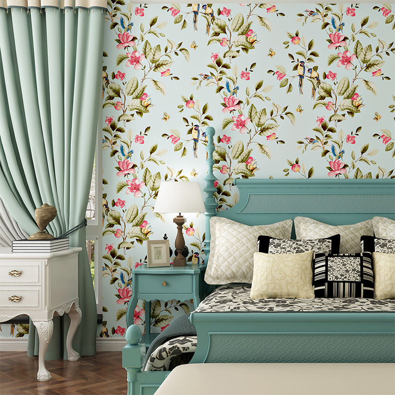 American Style Bedroom Wall Covering Modern Vintage Pink Floral Wallpaper Blue Tropical Butterfly Birds Flower Wall Paper свитшот print bar flower birds