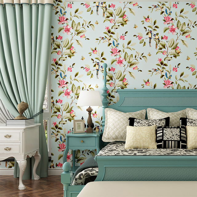 US $29.59 48% OFF|American Style Bedroom Wall Covering Modern Vintage Pink  Floral Wallpaper Blue Tropical Butterfly Birds Flower Wall Paper-in ...