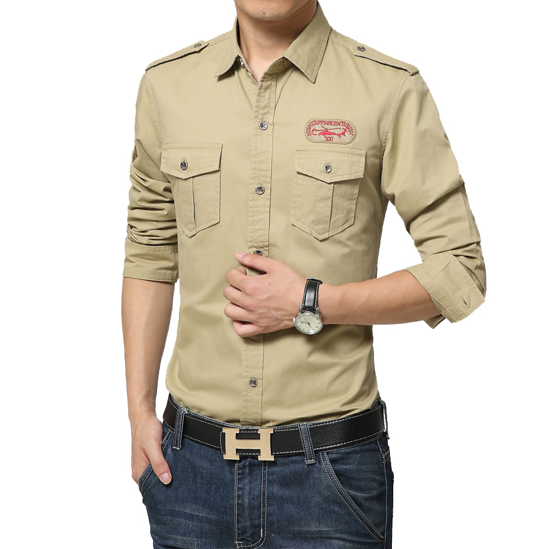 108ad0ecbe4 hot sale fashion military uniform men long sleeve shirts cotton casual air  force dress shirts 3XL 4XL DCL09