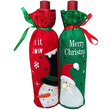 Christmas Party Decors 1 Piece Red Wine Bottle Cover Bags Christmas Dinner Table Decoration Home Party Decors Santa Claus