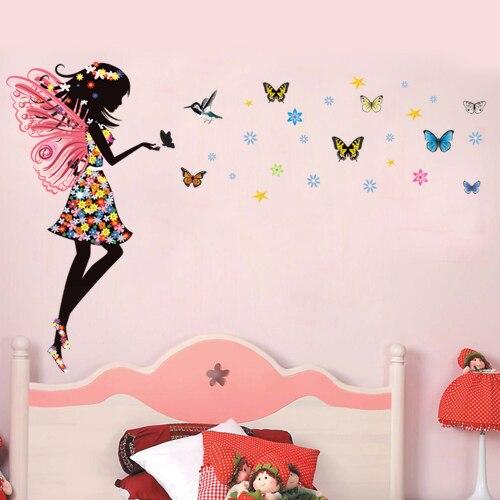 Flores mariposas princesa de dibujos animados fantas a - Dibujos para paredes infantiles ...