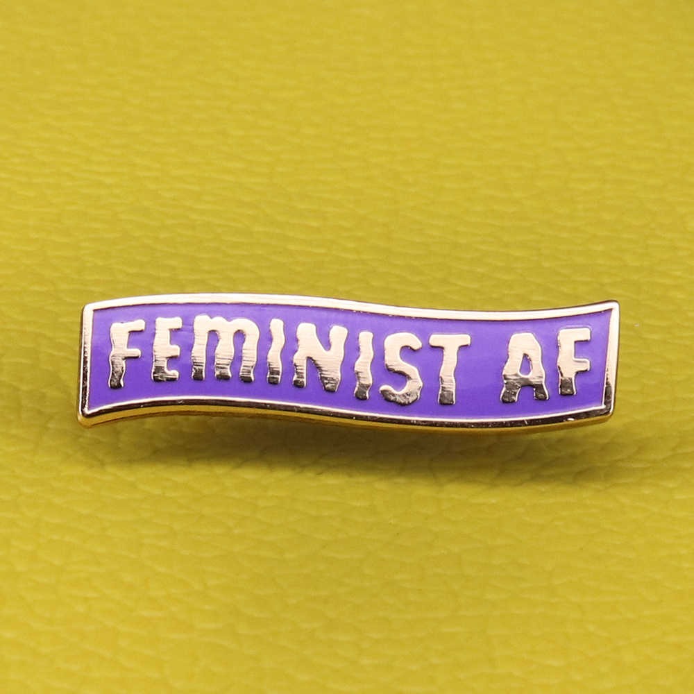 Femminista AF dello smalto pin viola banner spilla femminismo attivista pins ragazza power distintivo artista del regalo dei monili per le donne accessori