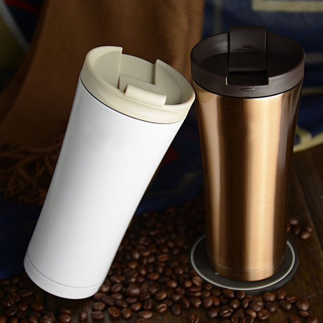 3f365abb1de Garrafa Termica 500ml Double Wall Stainless Steel Thermos Tumbler Travel Mug  Termo Coffee Cup Black White