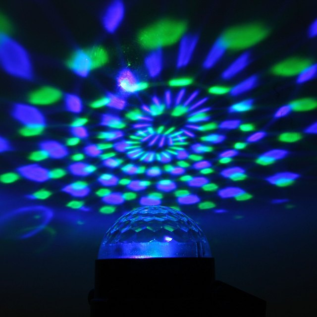 2016NEW Arrival Plastic Material 3 LED RGB Magic Crystal Effect Ball Light Stage Lighting for DJ Club Disco Party - US /EU Plug