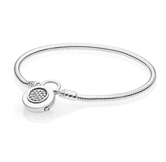 925 Sterling Silver Pandora Bracelet Moments Smooth Bracelet With Signature Padlock Fit Lady Beads Charm Pendant Jewelry
