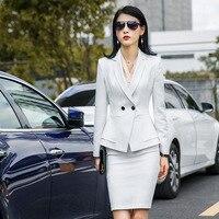 Women's suit skirt suit women's fashion double breasted slim suit two piece (jacket + skirt) ladies business wear