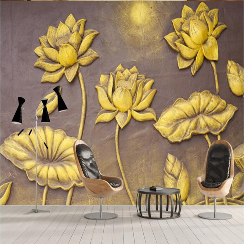 Desktop Wallpaper Hd Golden Lotus Contemporary Wall Decor Luxury Wallpaper for Walls Small Living Room Furniture Boys Room Decor