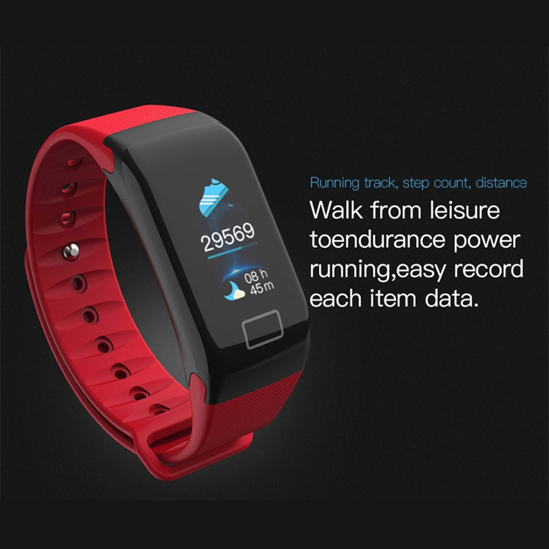 F1 Plus Smart Bracelet Heart Rate Color Screen Blood Pressure Fitness Bracelet Sport Tracker Monitor Smart Sport Bracelet Band in Smart Wristbands from Consumer Electronics