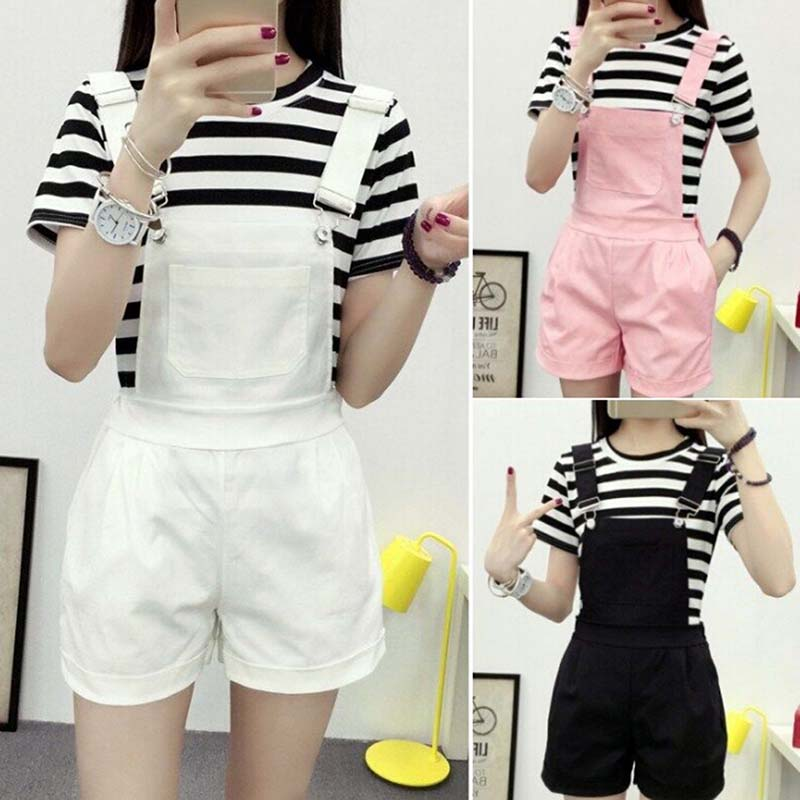Denim Overalls Women Summer Lovely Jumpsuits Spring Denim Jeans Overalls Shorts Female Pink/white/black Overall Jumpsuit