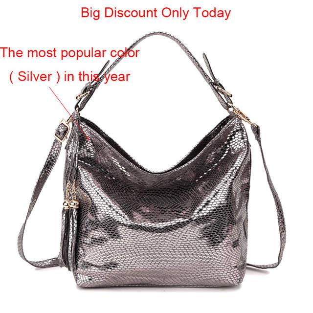 df7728279e SMILEY SUNSHINE snake leather women shoulder bag 2018 female serpentine  pattern hobos bag tassel women handbag