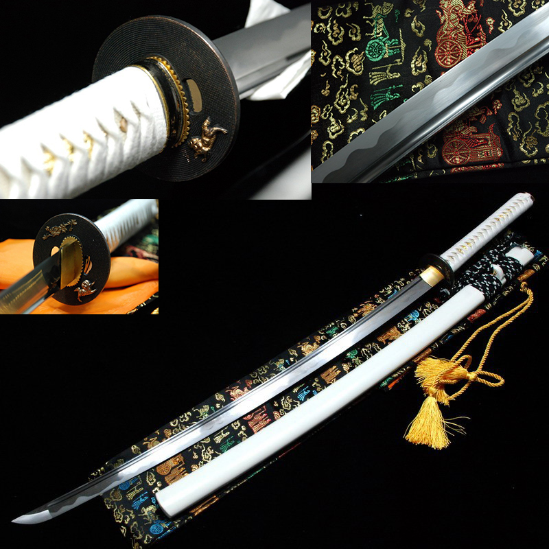 katana samuraj japonský meč katana skutečné katana meče na prodej uhlíková ocel ostrý bílý katans plný tang