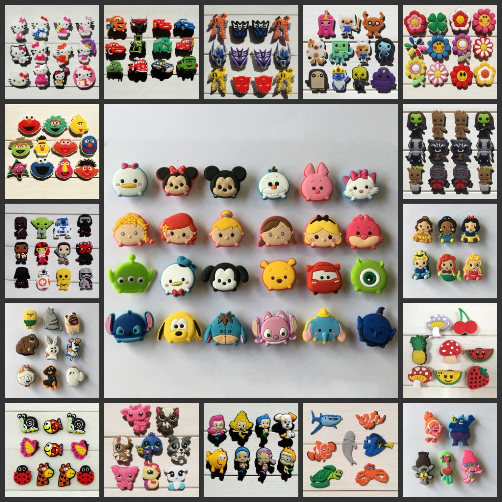 Free DHL,10000Pcs Tsum Tsum Super Hero Pet Shop Mario PVC shoe accessories/shoe charms For Silicone Wristbands&shoes with holes new in box tsum tsum stack n play toy shop original