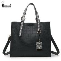 FUNMARDI Luxury Handbags Women   Bags   Designer Crocodile Pattern Shoulder   Bag   Female Brand PU Leather   Crossbody     Bags   Tote WLHB1794