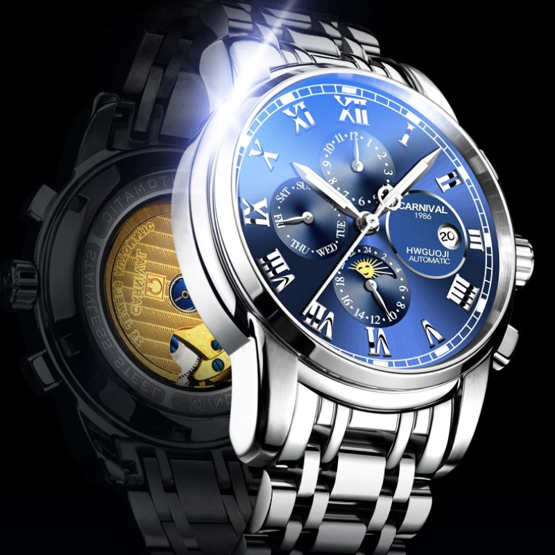 Montre Homme CARNIVAL Mens Watches Top brand Luxury Multifunction Mechanical Watch Men Automatic Waterproof Business Sport Watch