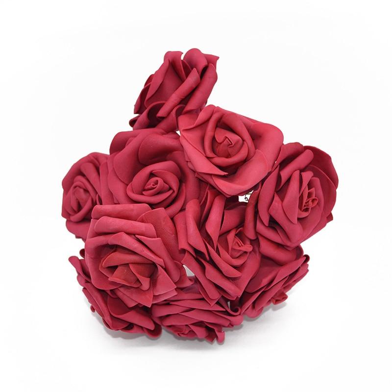 10 шт. 8 см большие ПЭ пенные цветы искусственные розы цветы Свадебные букеты Свадебные украшения для вечеринки DIY Скрапбукинг Ремесло поддельные цветы - Цвет: burgundy  no leaf