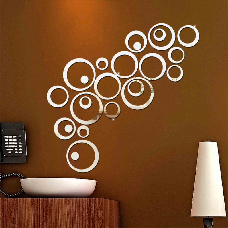 2017 Hot Sales 24pcs Circles Wall Stickers Mirror Style