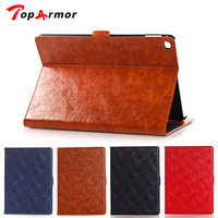 TopArmor 2017 Luxury Oil Wax Stand Case Tablet Leather Case Cover Credit Card Slot Case Book