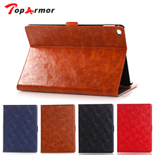 TopArmor 2017 Luxurious Oil Wax Stand Case Pill Leather-based Case Cowl Credit score Card Slot Case Guide Case For Apple iPad Air 2 iPad 6