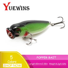 Купить с кэшбэком YUEWINS Hot Popper Fishing Lure Pesca Hard Bait Topwater Wobbler Isca Artificial 6.5cm 9.2g  Swimbait 3D Eyes Fshing lures TP217