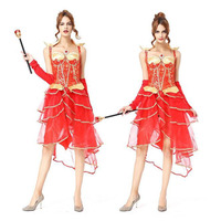 2018 Fashion Red Dress Bridal Skirt Masquerade Princess Queen Role playing Costume Cosplay Uniform Lingerie