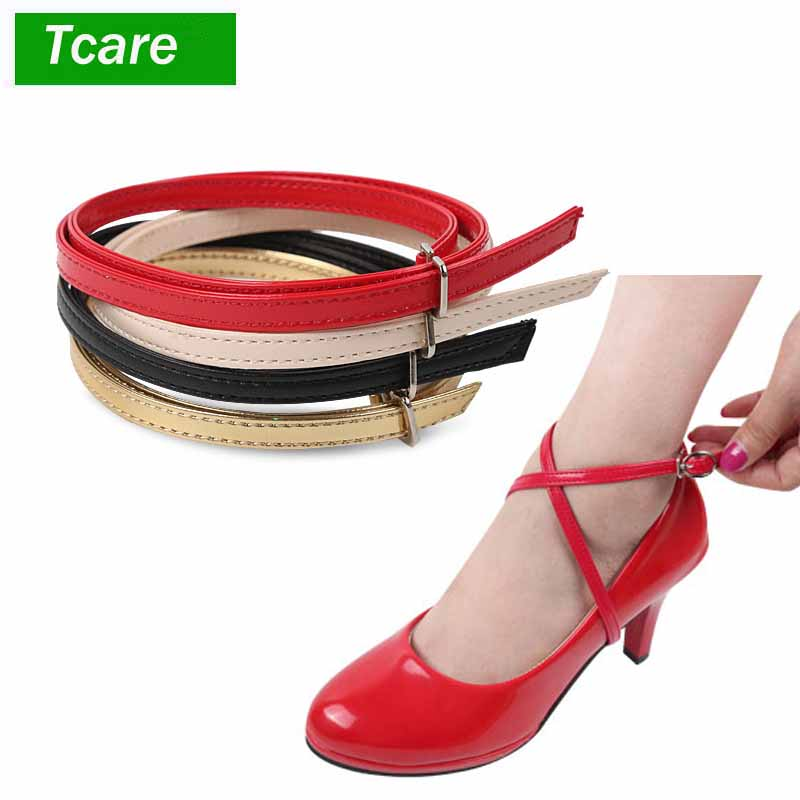 1Pair Foot Care Women's Detachable PU Leather Shoe Straps,High Heels Anti-loose Shoelace Accessories