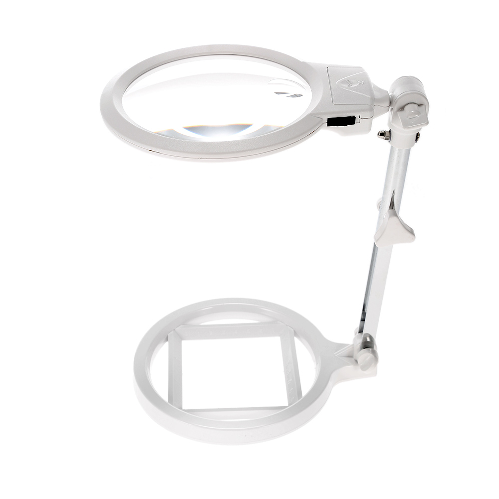 Multi functional Foldable Magnifier 6X loupe magnifying glass with 2 LED Lights Measurement Scale Desk Table