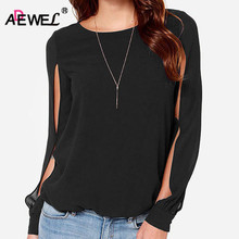 ADEWEL Spring Long Sleeve Pluz Size Women Blouse Loose Casual Cuff Split Chiffon Blouse Ladies Tops femme manche longue S-6XL недорго, оригинальная цена