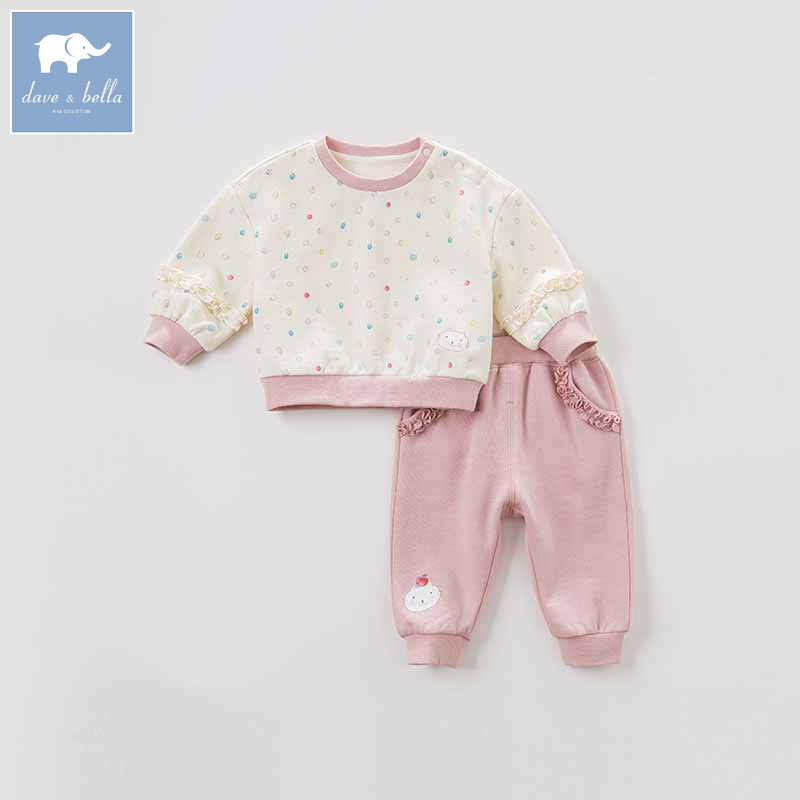 DBJ8654 dave bella autumn baby girl clothing sets children high quality clothes baby fashion outfits