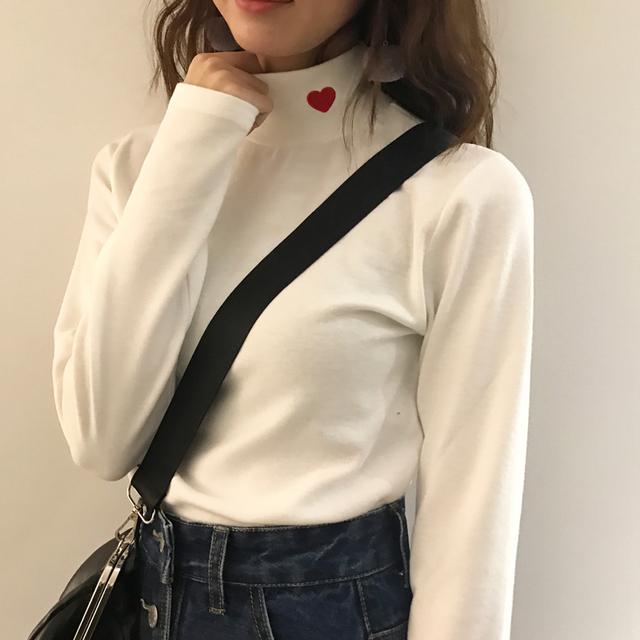 Elastic Striped Heart Printed Women's Shirt