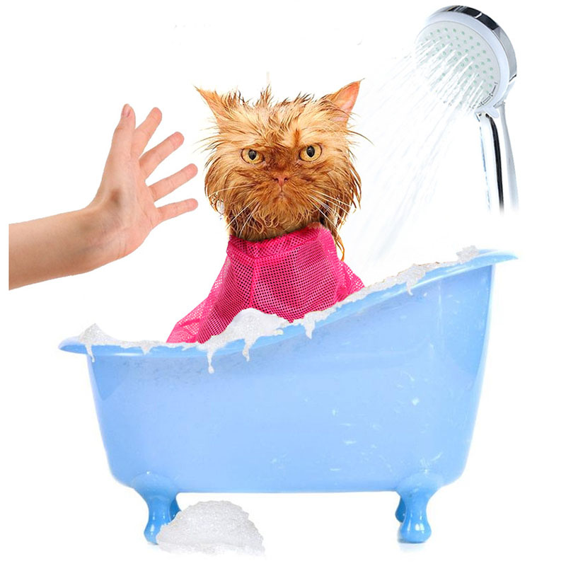 Fanxieast Mesh Cat Grooming Washing Bathing Bag For Nail Trimming Injecting Examing Pet Accessories 0191