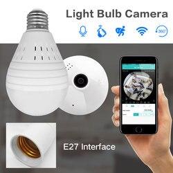 1080 p 360 grado IP inalámbrica cámara de ojo de pez panorámica de vigilancia de la cámara de seguridad Wifi visión nocturna lámpara de bulbo CCTV Cámara P2P