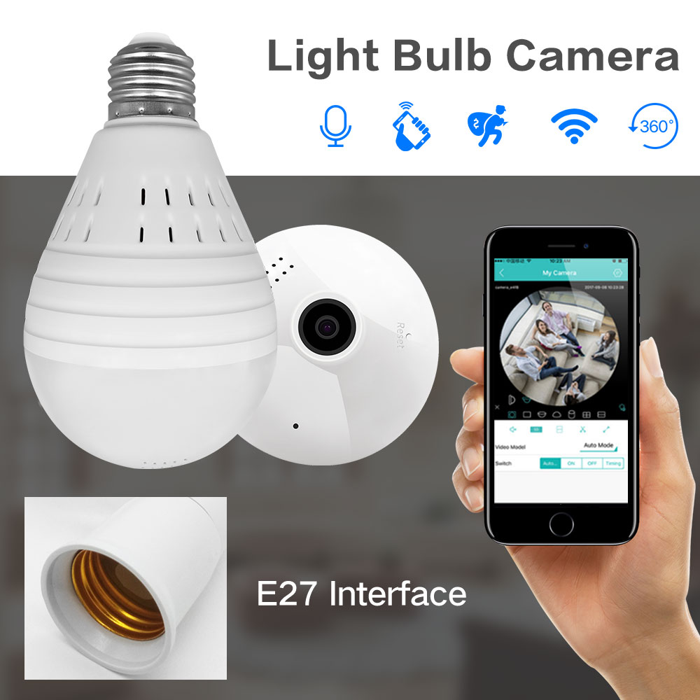 1080P 360 Degree Wireless IP Camera Fisheye Panoramic Surveillance Security Camera Wifi Night vision Bulb Lamp CCTV Camera P2P led bulb lamp wireless ip camera wifi 1080p panoramic fisheye home security cctv camera 360 degree night vision