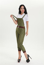 free shipping   Ladies WW2 Land Girl Costume World War 2 Wartime Outfit 40s Army Fancy Dress  M XL