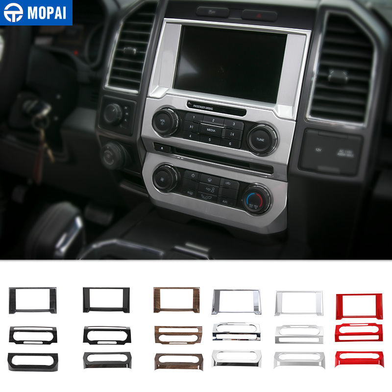 MOPAI Car Interior Navigation Air Conditioning Audio Volume Decoration Ring Cover Stickers for Ford F150 2015 Up Car Styling цена
