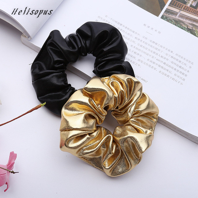 Helisopus 2019 Women Faux Leather Elastic Hair Ties Girls Hairband Rope Ponytail Holder Scrunchie Gold Black Hair Accessories