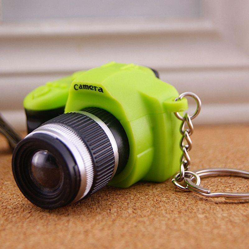 Creative Super Mini Sound Camera LED Keychain Pendant Cute DIY Art Craft Plastic Key Ring Decor New Year Valentine Birthday Gift