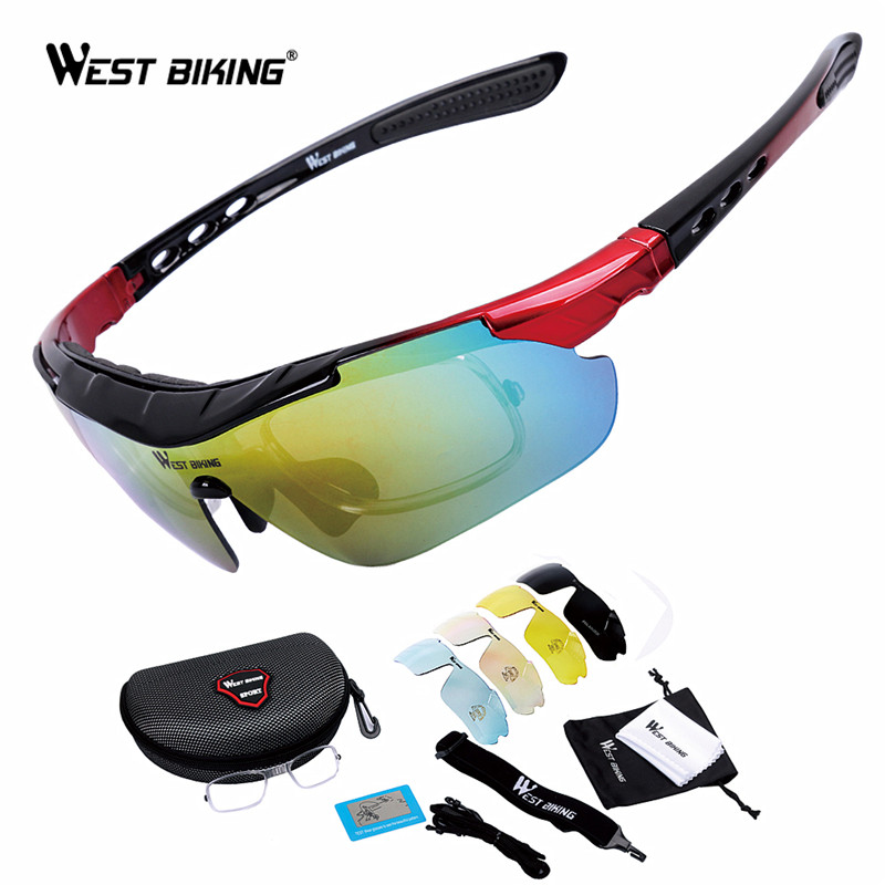 WEST BIKING Cycling Polarized Sunglases Outdoor Sport <font><b>Glasses</b></font> Goggle <font><b>Bike</b></font> <font><b>Glasses</b></font> <font><b>5</b></font> <font><b>lens</b></font> Cycling Eyewear Bicycle Sunglasses Suit image