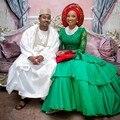 Анкара Стиль Нигерии Изумрудно-Зеленый Русалка Вечерние Платья С Длинными Рукавами Плюс Размер Сексуальные Африканские Женщины Партия Платья Свадебные Платья
