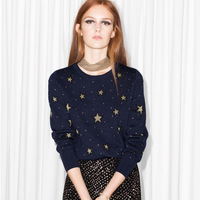 Qooth New Fashion Pullovers Sweater Women Stars Embroidery Women Woolen blends Full Sleeve Knitwear Jumper Female QH1903