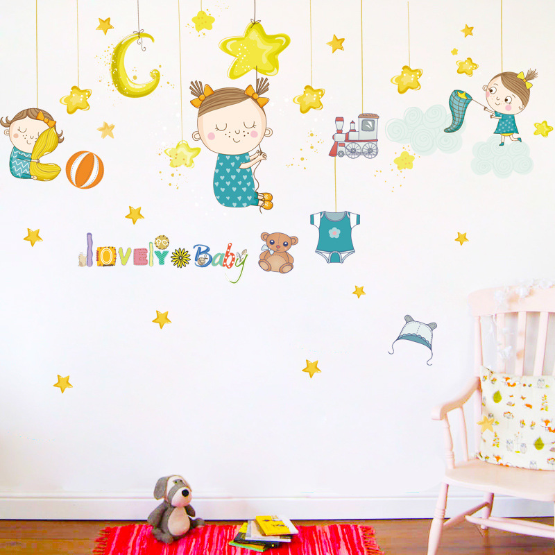 Cartoon Catching Star Doll Girl Wall Stickers Children S