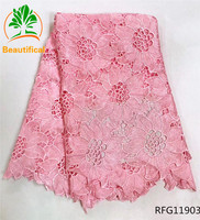 Beautifical guipure lace fabric 2017 african cord lace fabrics white and pink wedding cord lace 5yards high quality RFG107