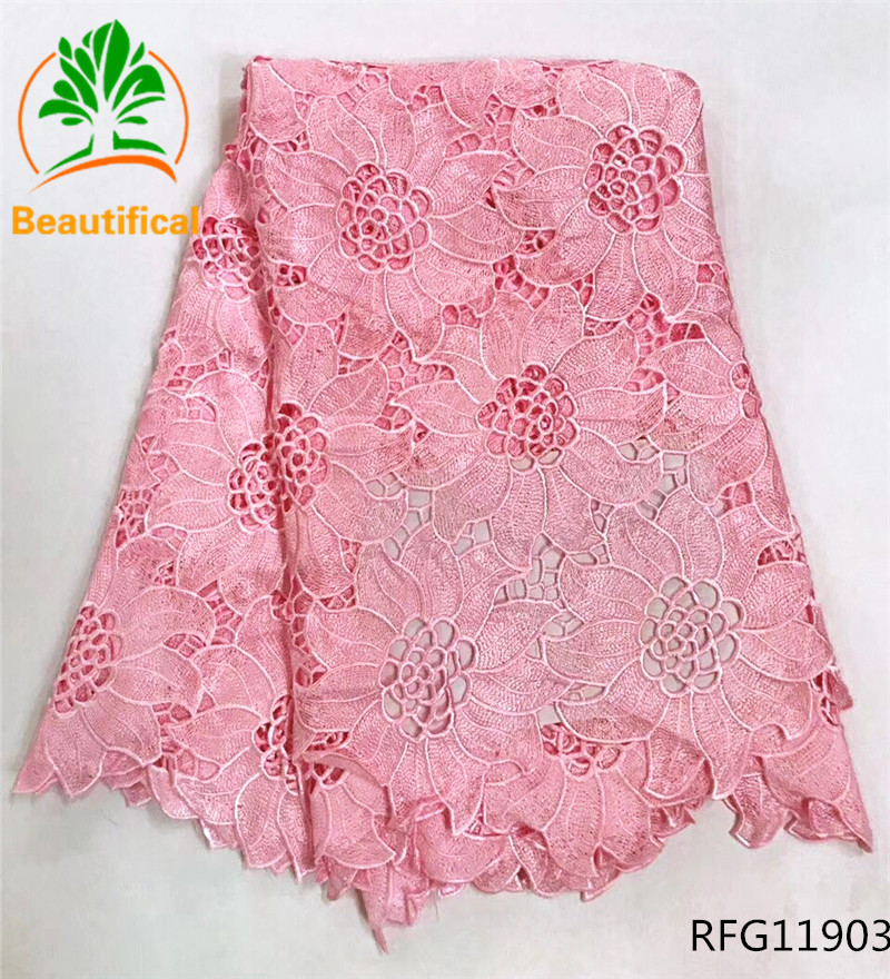 Beautifical guipure lace fabric 2017 african cord lace fabrics white and pink  wedding cord lace 5yards high quality RFG107Beautifical guipure lace fabric 2017 african cord lace fabrics white and pink  wedding cord lace 5yards high quality RFG107