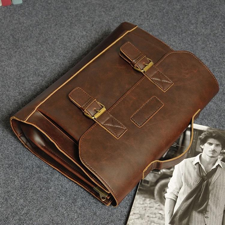 HTB1I6INjgLD8KJjSszeq6yGRpXaG Crazy Horse PU Leather Men Briefcase Famous Brand Men's Messenger Bag Male Laptop Bag Business Fashion Shoulder Bags Travel Bag