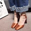 2017 Новое Прибытие Настоящее Шелк Лодыжки Ремень Насосы 8 см Черный Красный Зеленый Розовый Orange Обувь Женщина Высокий Каблук Площадь носок
