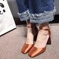 2017 nueva llegada de seda verdadero zapato con cierre bombas 8 cm negro rojo verde rosa orange zapatos de mujer de tacón alto cuadrados dedo del pie