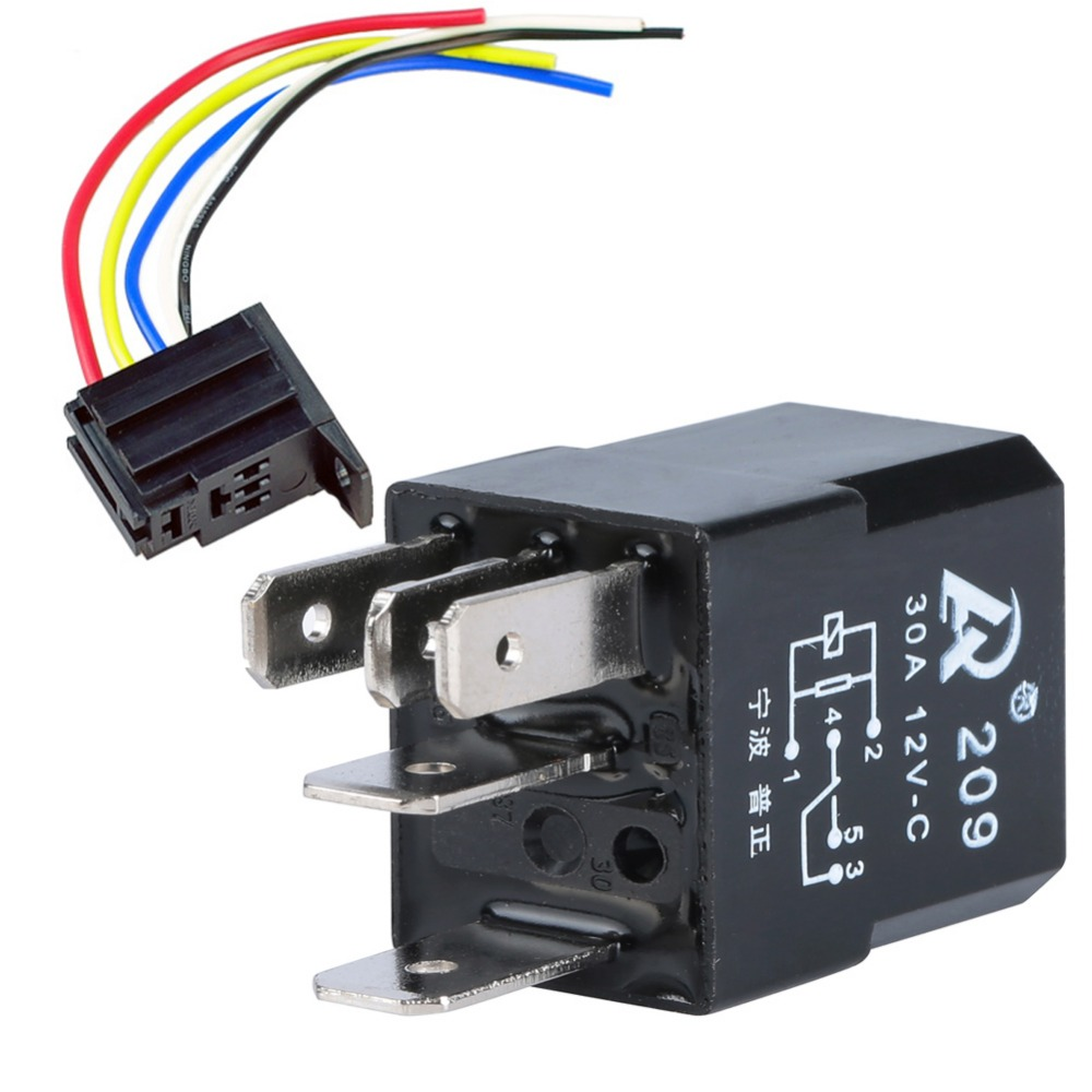 hight resolution of 5 set car relay socket 12v 30a 5 pin spdt 5p 5 prong wire kit for electric fan fuel pump horn 17 awg universal auto relays in car switches relays from