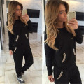 Women's Tracksuit Suit Winter 2015 Chains Female Hoodies For Women Gray Casual Suit Clothes For Women